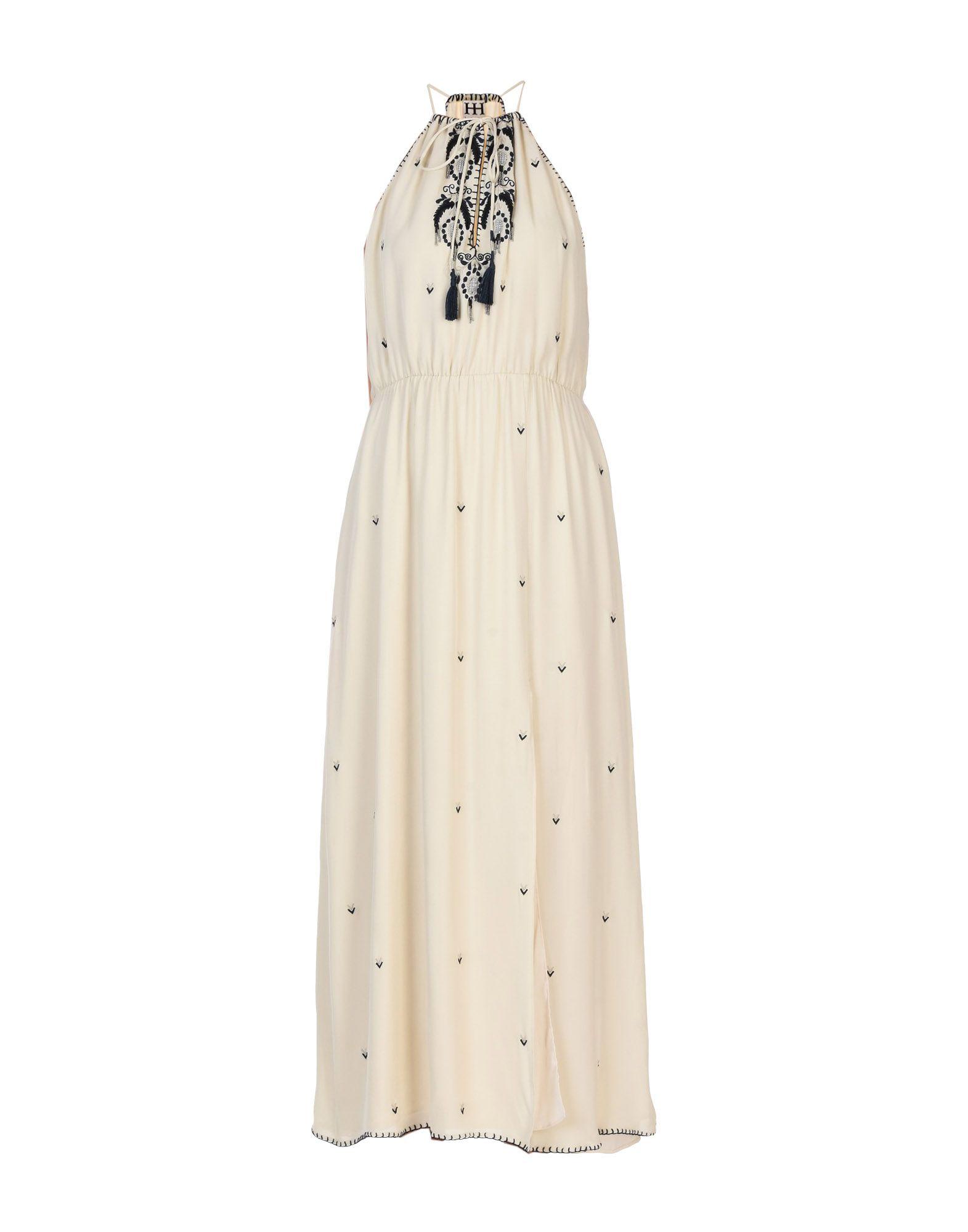 HAUTE HIPPIE Damen Langes Kleid Farbe Elfenbein Größe 5