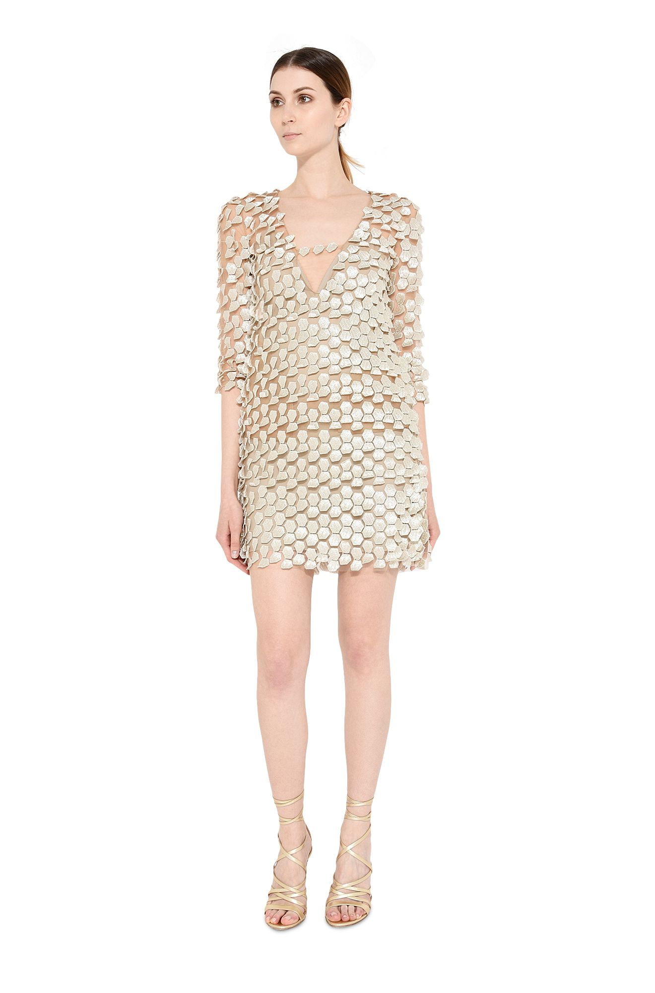 Mini dress in tulle ricamato tremblant