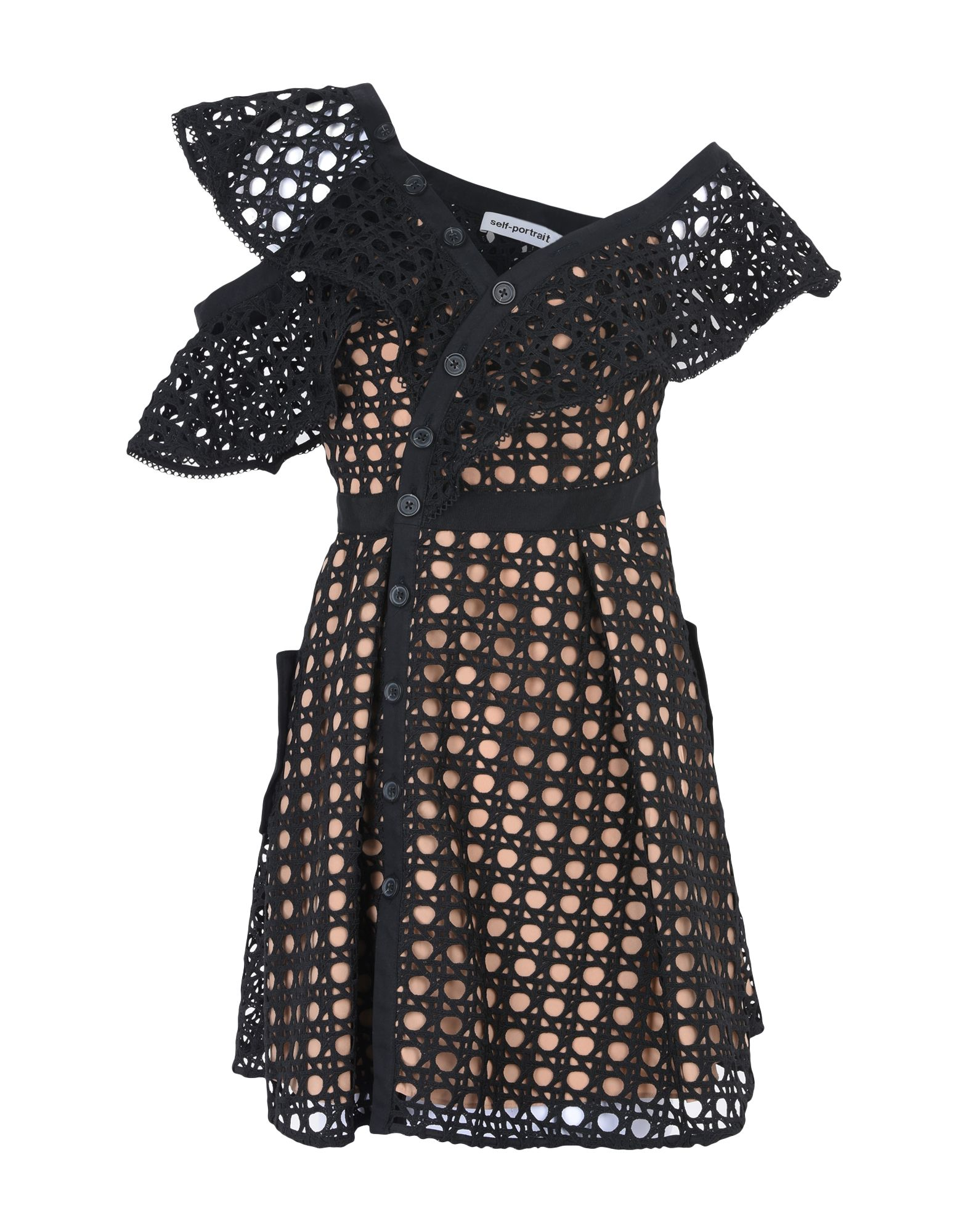 SELF-PORTRAIT Короткое платье grid pattern v neck self tie design dress