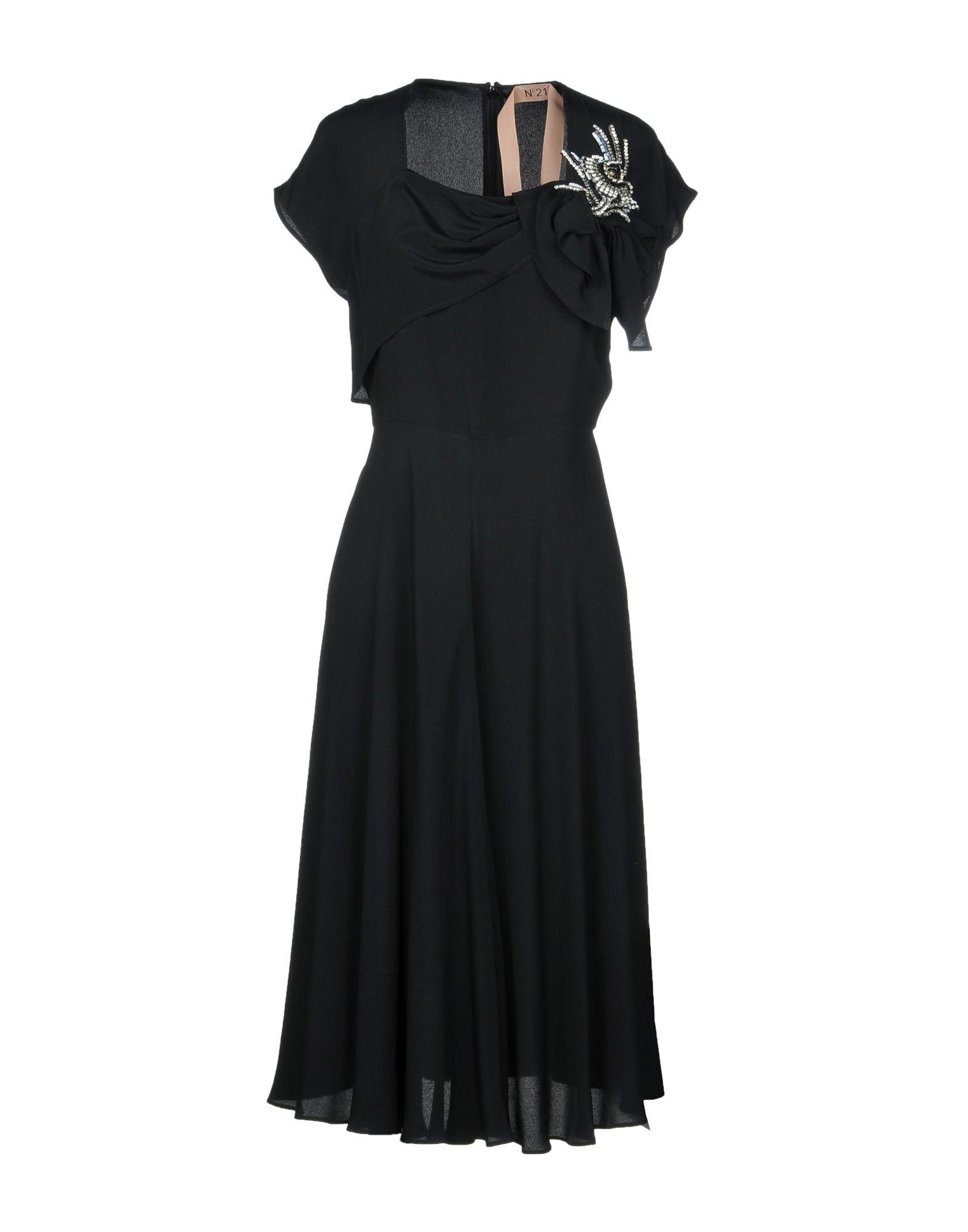 N° 21 Damen Knielanges Kleid Farbe Schwarz Größe 4