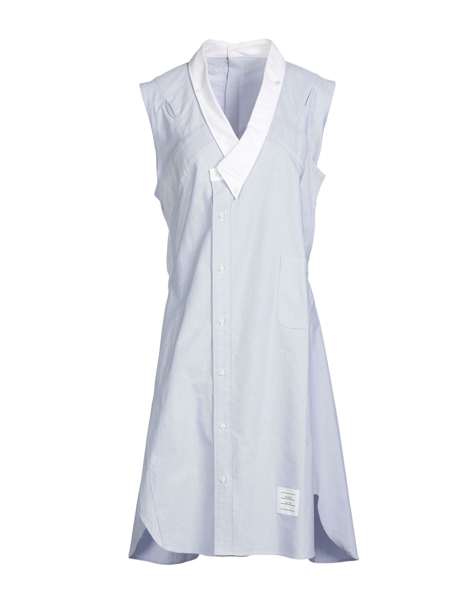THOM BROWNE Knee-length dresses. plain weave, button-down collar, sleeveless, basic solid color, shirt dress. 100% Cotton