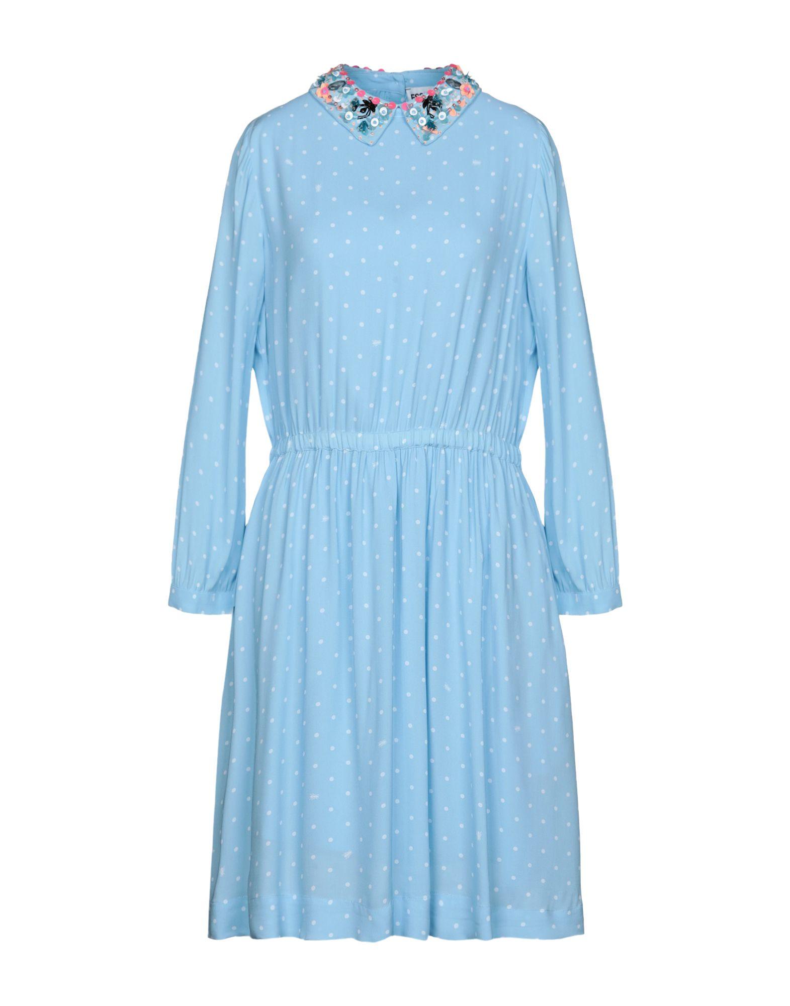 《送料無料》ESSENTIEL ANTWERP レディース ひざ丈ワンピース スカイブルー 38 レーヨン 100% Passage midi dress