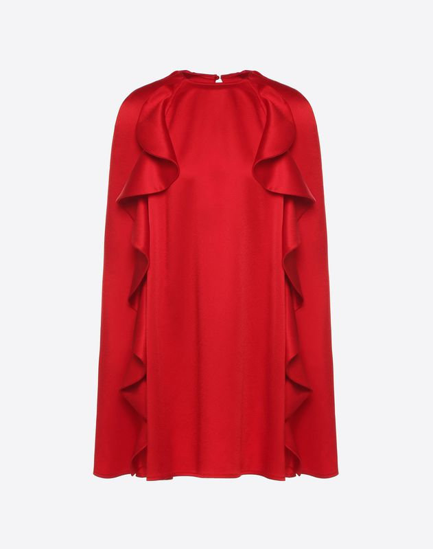 Robe cape en satin martelé