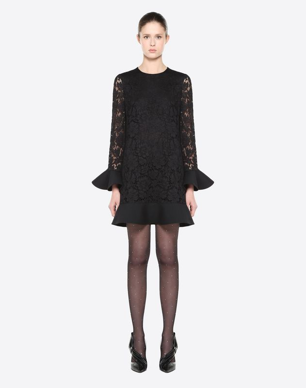 Heavy Lace and Crepe Couture Dress