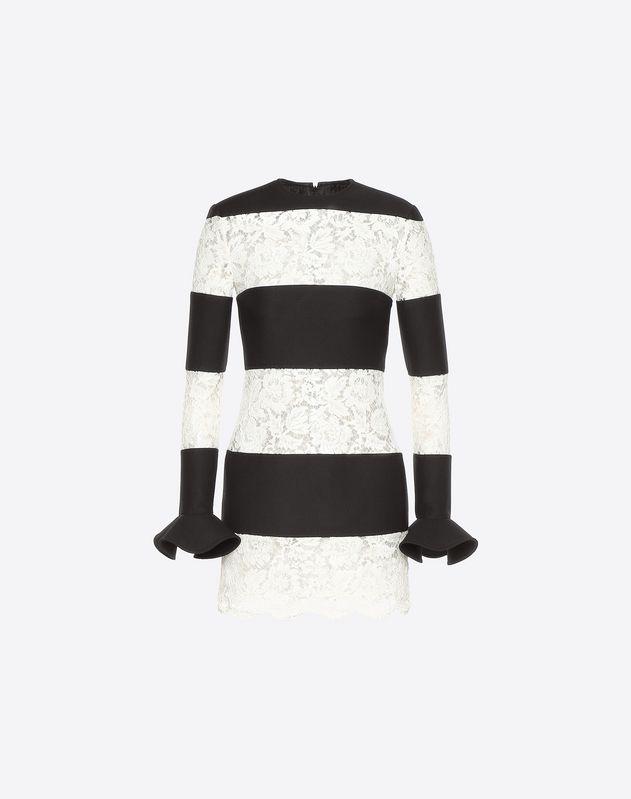 Robe en guipure et crêpe couture