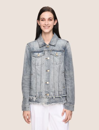 FRAYED DOUBLE-HEM TRUCKER JACKET
