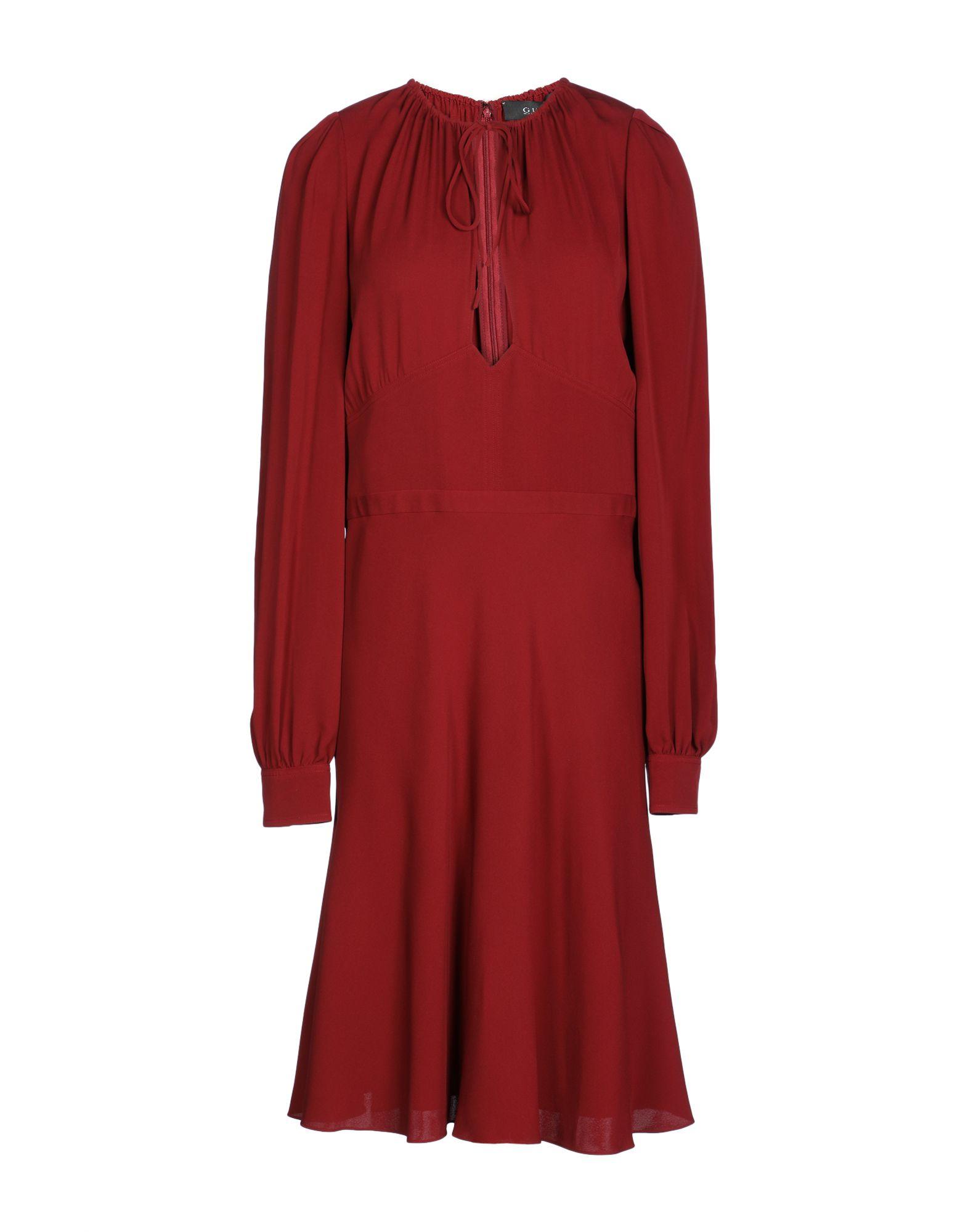 GUCCI Damen Knielanges Kleid Farbe Ziegelrot Größe 7