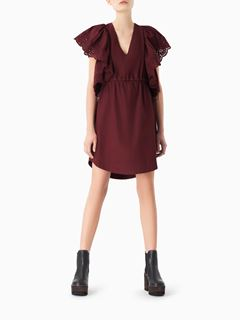 Flouncy-sleeve dress