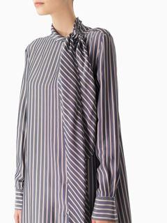 Robe chemise lavallière à rayures