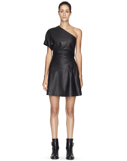 ASYMMETRICAL LEATHER DRESS - Lanvin