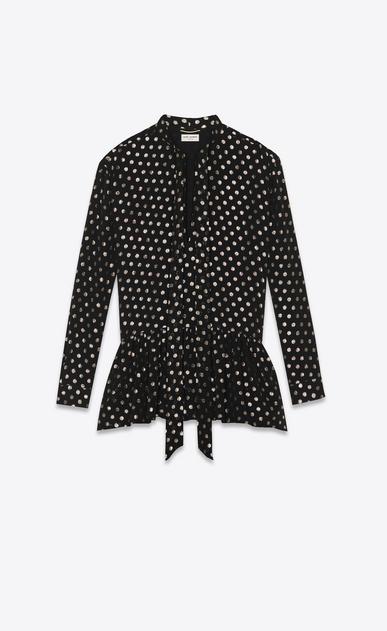 SAINT LAURENT Dresses Woman Dress in black with gold lamé polka dots a_V4
