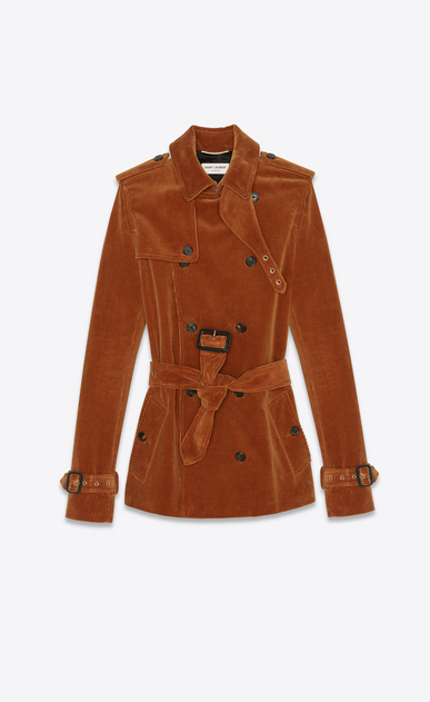 SAINT LAURENT Trench Donna Trench coat in velluto a coste color caramello a_V4