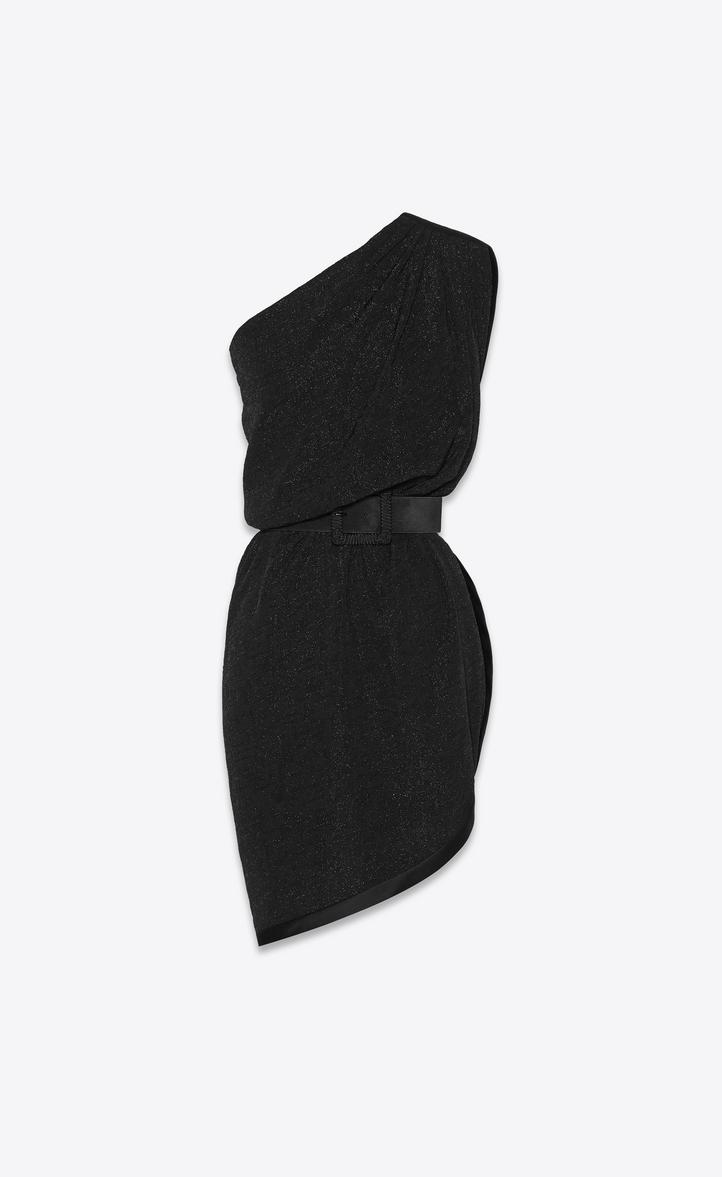 Robe asymétrique drapée en jacquard noir brillant