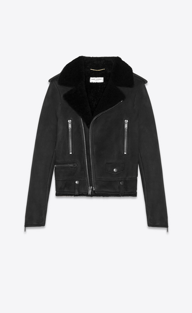 SAINT LAURENT Leather jacket Woman Biker jacket in black suede and shearling a_V4