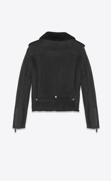 SAINT LAURENT Leather jacket Woman Biker jacket in black suede and shearling b_V4