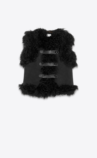 SAINT LAURENT Leather jacket Woman Vest in shearling and black suede a_V4