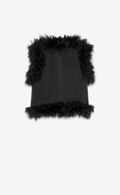 SAINT LAURENT Leather jacket Woman Vest in shearling and black suede b_V4