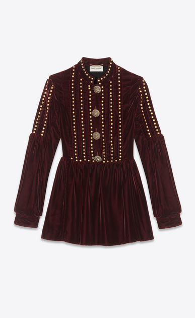 SAINT LAURENT Dresses Woman Dress with studs in burgundy velvet a_V4
