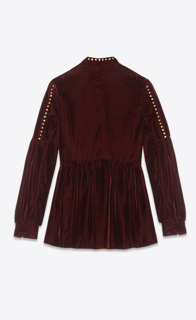 SAINT LAURENT Dresses Woman Dress with studs in burgundy velvet b_V4
