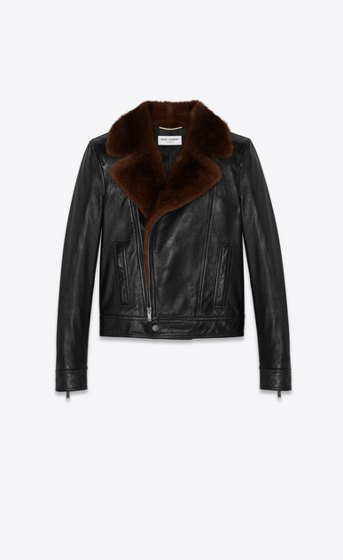 SAINT LAURENT Leather jacket Woman Motorcycle jacket in black vintage lambskin and brown mink a_V4