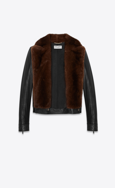 SAINT LAURENT Leather jacket Woman Biker jacket in black lambskin and brown mink b_V4