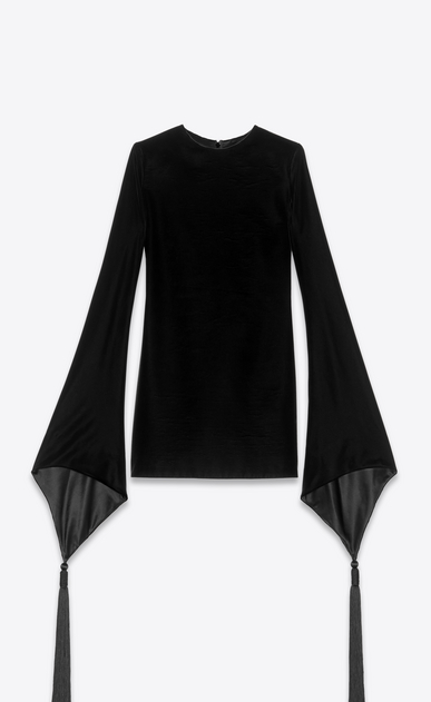 SAINT LAURENT Dresses Woman Dress with pagoda sleeves in velvet a_V4
