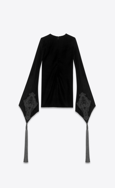 SAINT LAURENT Dresses Woman Dress with trumpet sleeves in black velvet b_V4