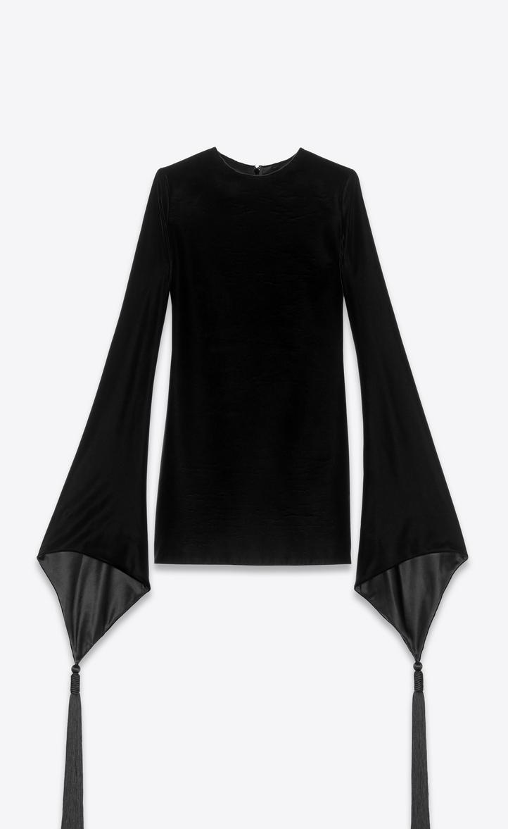 Dress With Pagoda Sleeves In Velvet, Black
