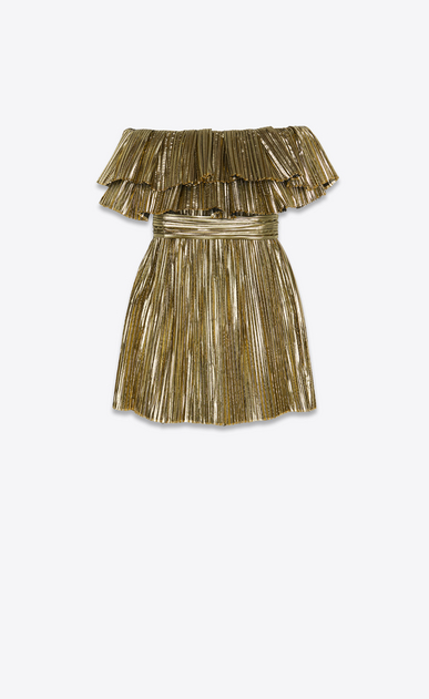SAINT LAURENT Dresses Woman Dress in pleated gold lamé b_V4