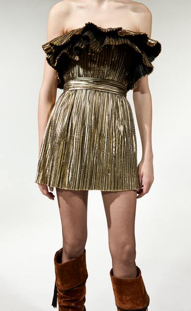 SAINT LAURENT Dresses Woman Dress in pleated gold lamé x_V4
