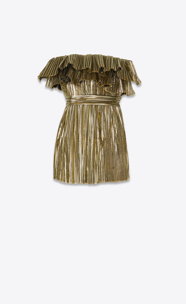 Robe bustier plissée en lamé doré