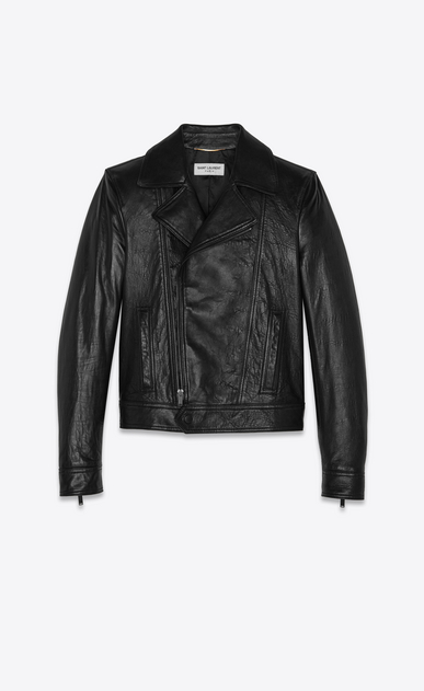 SAINT LAURENT Leather jacket Woman Biker jacket in black lambskin a_V4