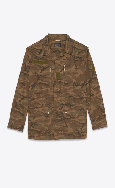 SAINT LAURENT Casual Jackets Woman Parka in camouflage print a_V4