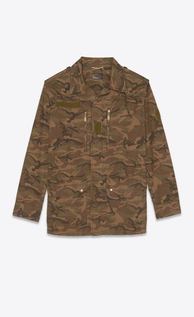 SAINT LAURENT Blousons Femme Parka militaire en gabardine kaki imprimé camouflage a_V4