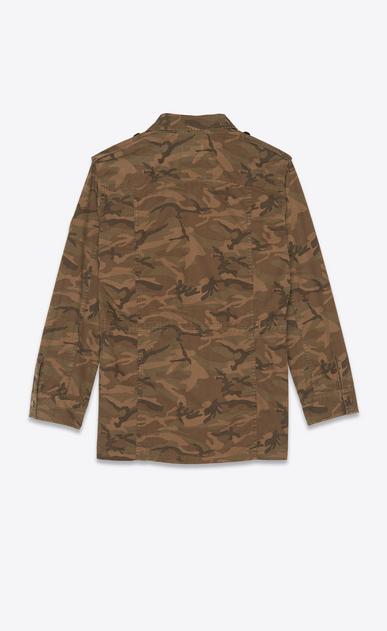 SAINT LAURENT Blousons Femme Parka militaire en gabardine kaki imprimé camouflage b_V4