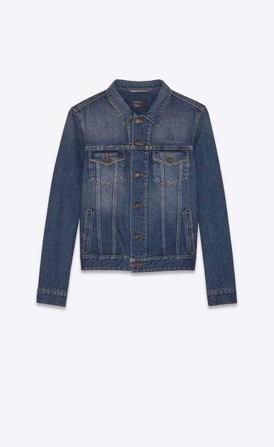 SAINT LAURENT Casual Jackets Woman Saint Laurent University jacket in blue denim a_V4