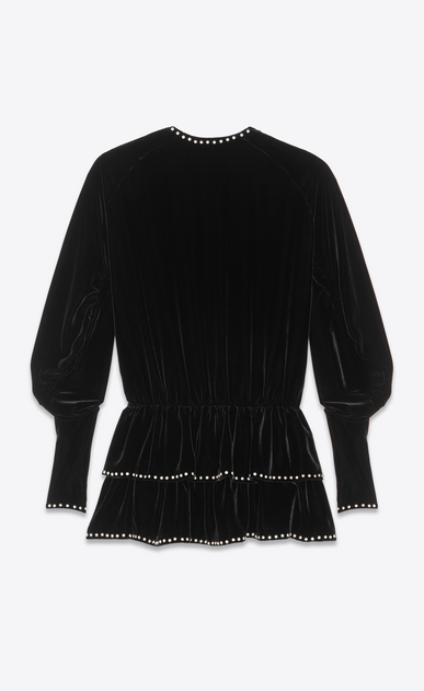 SAINT LAURENT Dresses Woman Dress with studs and ruffles in black velvet b_V4