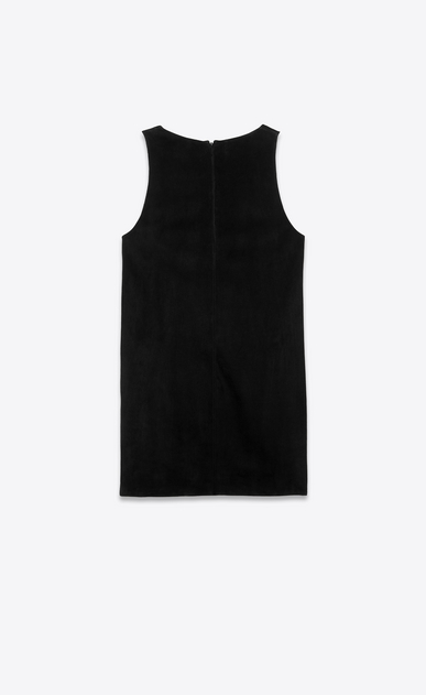 SAINT LAURENT Dresses Woman Dress in black suede with sequin flowers b_V4