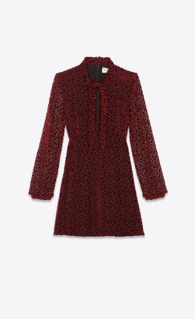 SAINT LAURENT Dresses Woman Dress in burgundy snowflake velvet a_V4