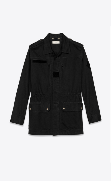 SAINT LAURENT Casual Jackets Woman Military parka in black with 1971 patch a_V4
