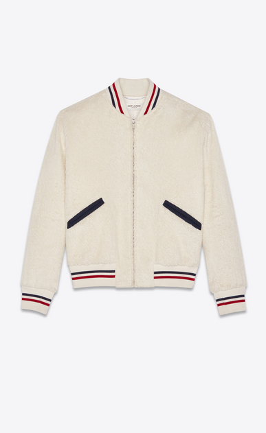 SAINT LAURENT Casual Jackets Woman Varsity jacket in ivory plush fur a_V4