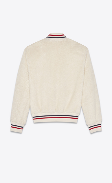 SAINT LAURENT Casual Jackets Woman Varsity jacket in ivory plush fur b_V4