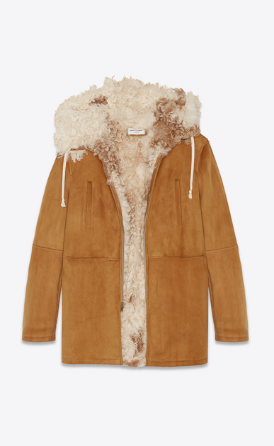 SAINT LAURENT Leather jacket Woman Parka in cognac suede lined with shearling a_V4