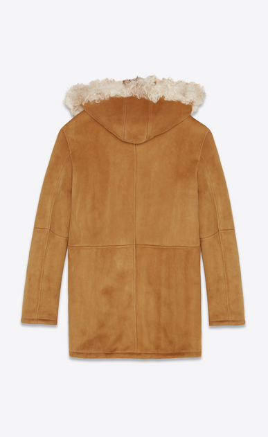 SAINT LAURENT Leather jacket Woman Parka in cognac suede lined with shearling b_V4