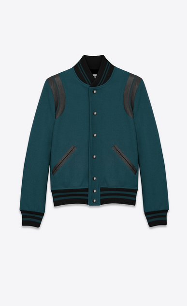 SAINT LAURENT Casual Jackets Man Varsity jacket in teal blue a_V4