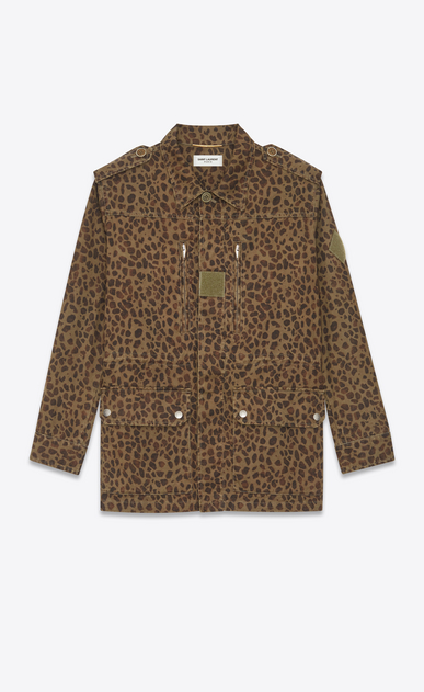 SAINT LAURENT Casual Jackets Man Military parka in khaki leopard a_V4