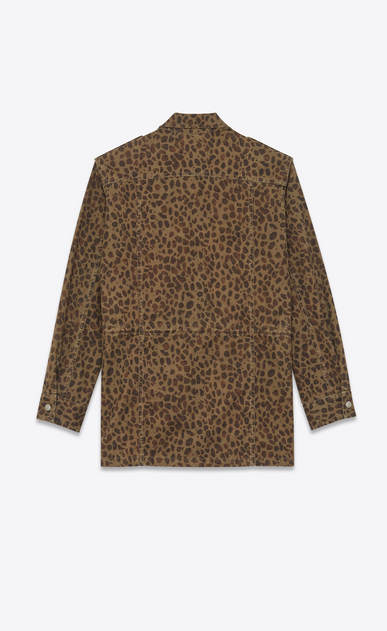 SAINT LAURENT Casual Jackets Man Military parka in khaki leopard b_V4