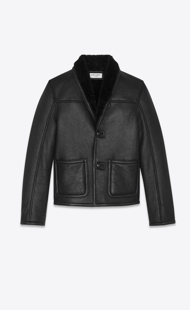 SAINT LAURENT Leather jacket Man Jacket in black leather and shearling. a_V4
