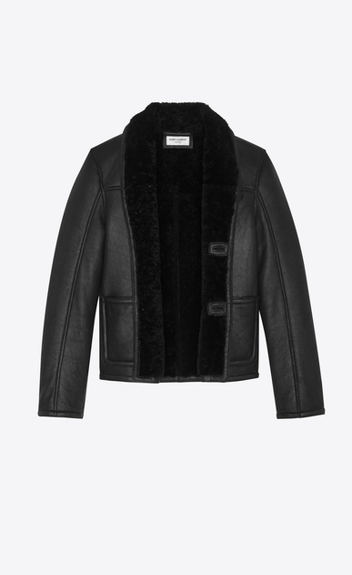 SAINT LAURENT Leather jacket Man Jacket in black leather and shearling b_V4