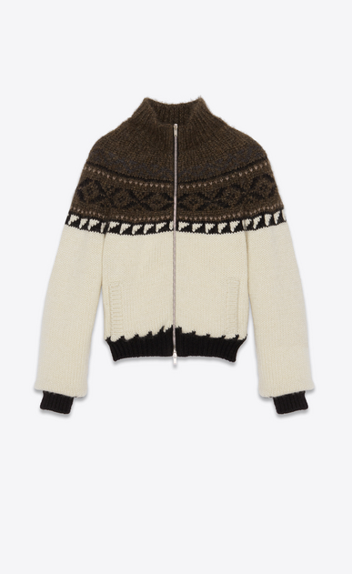 SAINT LAURENT Casual Jackets Man Varsity jacket in ivory, black and brown jacquard a_V4